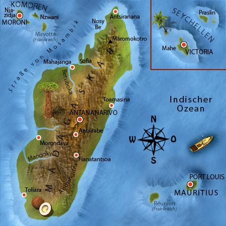 Madagaskar Karte.Afrika Junior Madagaskar