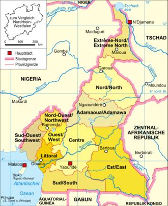 Politische Karte von Kamerun (c) wikicommons